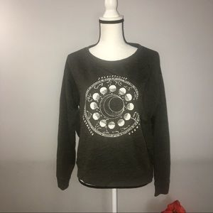 H&M divided gray crew astrology graphic sweater